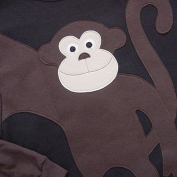 MONKEY sweatshirt,monkey sweater, monkey jumper CUSTOMIZE Adults You Choose Color and size