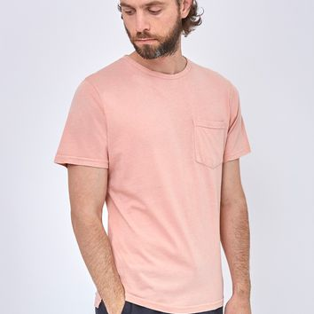 The Idle Man Indigo Dyed Boxy Pocket T-Shirt Pink
