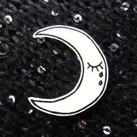 Weeping Crescent Moon Tears Pin Badge