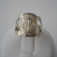 Sterling Silver 925 Thin Etched Scales Ring Size 7.5 925