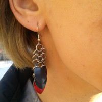 Black and Red Scalemail Earrings