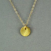 Brushed Vermeil Disc Necklace, 14K Gold Filled Chain, Simple, Cute, Everyday Wear Jewelry