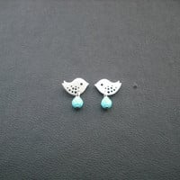 Birthstone, tiny love birds post earrings - sterling silver post, bridesmaids gift, wedding gift