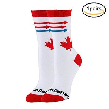 NEVSNEV Women Colorful Patterned Fashion Crew Socks canada Pizza PineappleEmoji