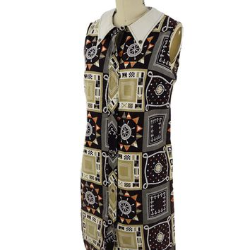 60s Miss Elaine Nautical Print Shift Dress-M
