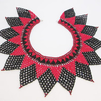 Red Black Bib Large Wide Necklace Seed Beaded Collar Vintage Necklace Statement Jewelry Vintage Fashion