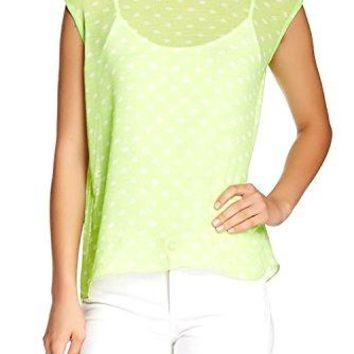 Vince Camuto Women's Two by Sheer Kiwi Green Polka Dot Split Back Tee Blouse, Size Small
