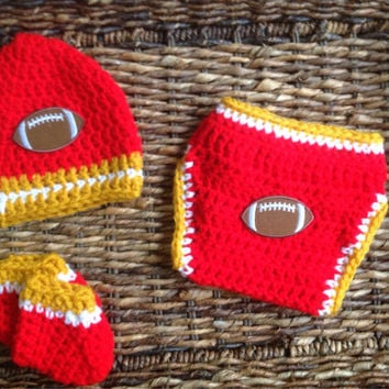 Crochet San Francisco 49ers Football Theme Baby Diaper Cover Beanie Gift Set