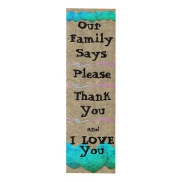 Our Family Says Wall Hanging Panel Wall Art