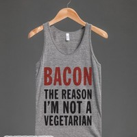 Bacon The Reason I'm Not A Vegetarian (Tank)-Athletic Grey Tank