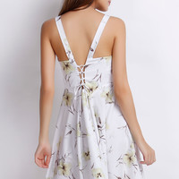 Strappy Floral Pleated Mini Dress