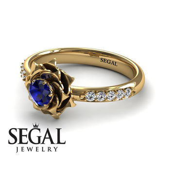 Unique Rose Engagement Ring Diamond ring 14K Yellow Gold Flower Vintage Antique Engagement Ring Sapphire With Sapphire - Elena