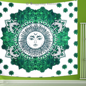 Mandala Sun Moon Tapestry Indian Wall Hanging Bohemian Hippie Ombre Bedspread Throw Bedding Decor Art