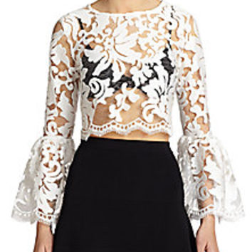 Alexis - Vito Sheer Lace Bell-Sleeved Cropped Top - Saks Fifth Avenue Mobile