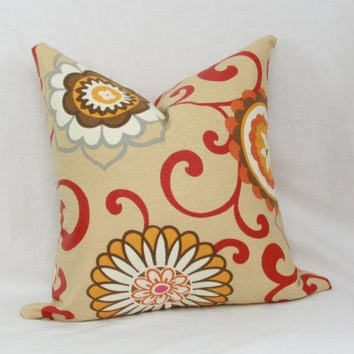 "Red & tan floral decorative throw pillow cover. 18"" x 18"". 20"" x 20"". 13"" x 20"".Waverly Pom Pom Play pillow cover."