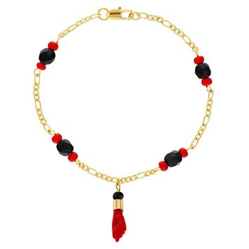 18k Gold Plated Evil Eye Protection Red Figa Hand Amulet Good Luck Bracelet 7.5""