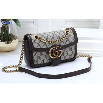 Gucci Fashion Full-print Color Ladies Shopping Bag Single Shoulder Bag Coffee