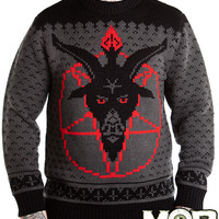 Goat Head Pentagram Satanic Knit Sweater
