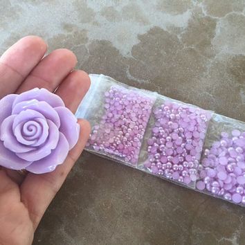 4 pc Large Purple Rose Cabochon & Matching Resin Half Pearls Loose Pearl Size Assortment