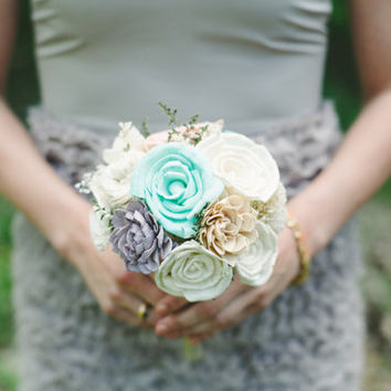 Bridesmaides Junior Bouquet Sola-Balsa Wood Flowers with dried Flowers In Lilac, Mint, Pink, Tan, Ivory