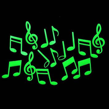 Wall Sticker Plastic 3D Music Notes Glow In The Dark Luminous Fluorescent Wall Stickers