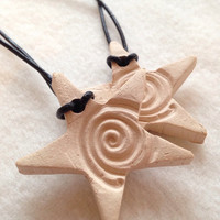 Handmade Swirl Star shaped Bisque Ceramic- Aromatherapy / Essential Scented Oil Diffuser Pendant necklace, car and home diffuser.