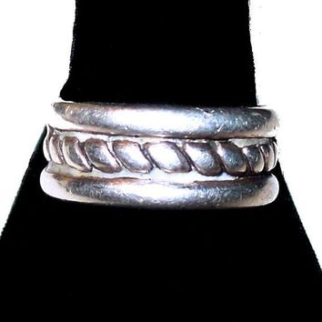 Mans Sterling Silver Band Ring Braided Design 925 Sz 10 Vintage