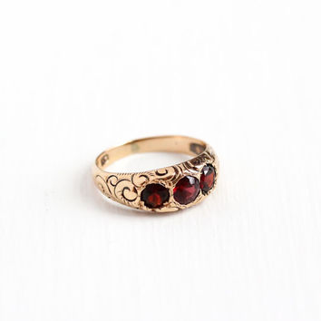 Sale - Antique Victorian 10k Rose Gold Garnet Ring Band - Size 5 1/2 Late 1800s Red Gemstone Embossed Filigree Swirl Fine Wedding Jewelry