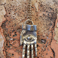Brass Third Eye Hand Necklace