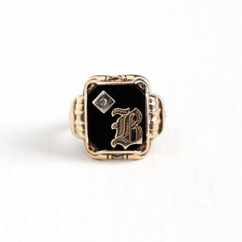 Vintage 10k Rosy Yellow Gold Diamond Initial B Signet Ring - Art Deco 1930s Size 9 Black Onyx Monogram Letter Fine OB Ostby Barton Jewelry
