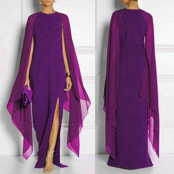 2018 Spring Elegance Evening Wear Women O Neck Batwing Sleeve Occasion Prom Gowns Sexy Formal Long Dress Evening Party Dresses