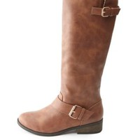 Two-Buckle Knee-High Riding Boots by Charlotte Russe - Cognac