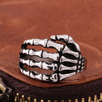 Alloy Silver Men's Punk Skull Head Finger Ring
