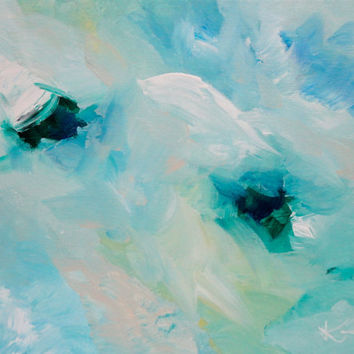 Abstract Artwork Original Acrylic 11x14 Green and Blue Signed Painting on Stretched Canvas