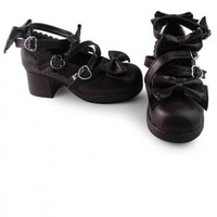 Lolita Chocolate Color Lace Bowknot Princess High Heel Shoes
