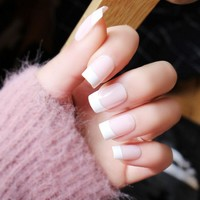 24pcs/set Pink pure color french false nails with Sided adhesive Cute fake nails elegant middle-long size full nail tips Bride