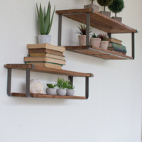 Set of Double Recycled Wood & Metal Shelves