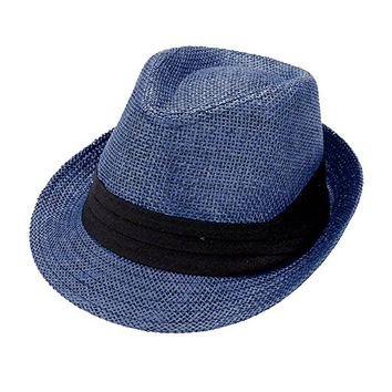 Beatnix Fashions Navy with Black Trim Straw Fedora Hat
