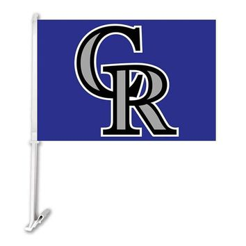 """Colorado Rockies Double Sided Car Product Baseball TeamCar Polyester Flags Banner 30x45cm With 50cm Plastic Flag Pole 11""""*15"""""""