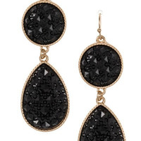 Crystal Cracked Earrings in Black