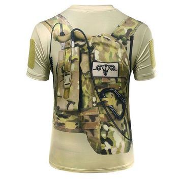2017 new high quality men style 3D military camo T shirt tactical out door fast dry shirt  hunting Apparel