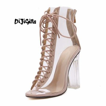 33aed43695f New Summer Sandals Sexy PVC Transparent Gladiator Sandals Cross
