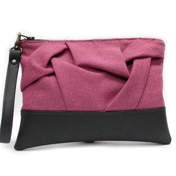Pink Wristlet Clutch, Faux Leather Purse, Pink Gray Clutch, Origami Clutch Bag, Large Zipper Clutch, Pink Vegan Clutch, Casual Hand Bag