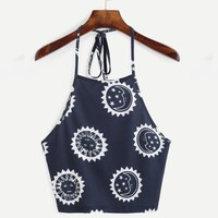 Womens Summer Boho Style Sexy Sleeveless Tank Top Print Halterneck Short Crop Tops Vest T-Shirt Female cropped feminino #23