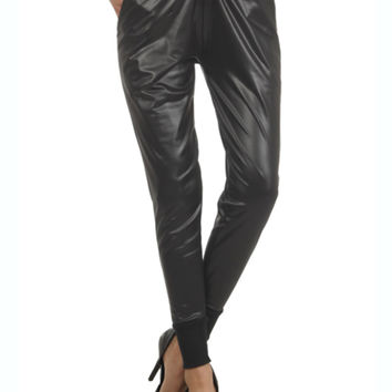 Trendy Faux Leather Jogger Pants