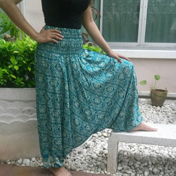 Green Jumpsuit & Pants Elephant Aladdin Drop Crotch Yoga Baggy Harem Printed Sarongs Tribal Hippie Rayon pants Gypsy Thai Plus Size
