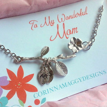 Mother's Necklace with Initials Blossoming Branch , mothers day gift, wife, sister, daughter, birthday, anniversary