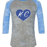 Kansas City in Heart Blue Alternative Burnout Baseball Tee