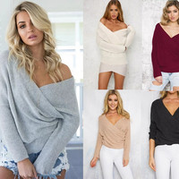 Women's Fashion Winter Sexy Long Sleeve Tops Sweater [9415227596]