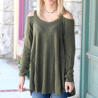 Shoulder Shimmy Cold Shoulder Sweater {Army Green}